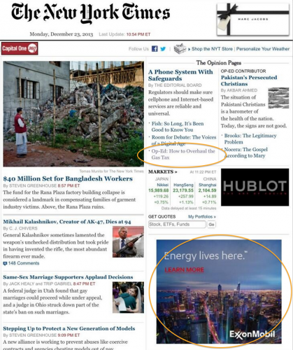 Exxon Ads on NY Times VMT Homepage