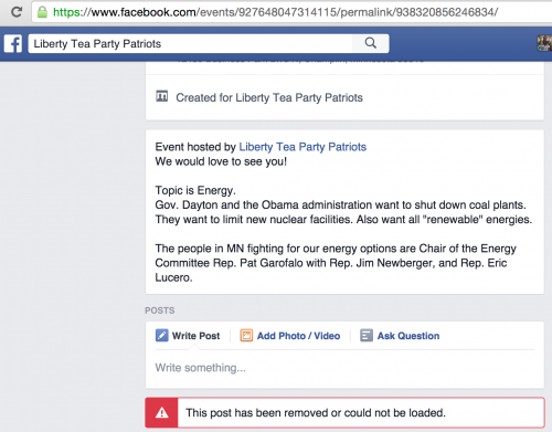 Deleted Post on Liberty Tea Party Patriot's Event Page